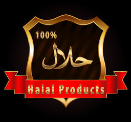 100 % halal food Product Label shield- vector eps10
