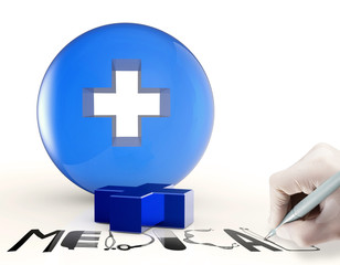3d virtual medical symbol and text design MEDICAL as concept