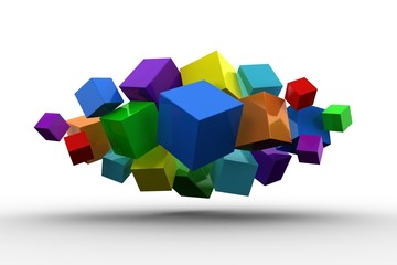3d colourful cubes floating in a cluster