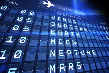 Blue departures board for space travel