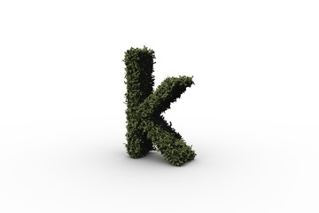 Letter k made of leaves
