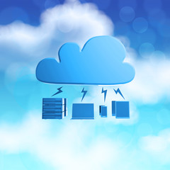 3d Cloud Computing diagram icon on blue sky background as concep