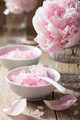 pink flower salt peony for spa and aromatherapy