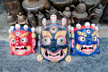 Buddhist festival masks at the shop window in Kathmandu Nepal