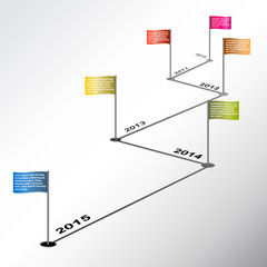 Vector infographic timeline report with colored flags