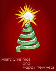 Vector format of wish card with Christmas tree and text baloon