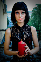 Goth Girl with candle