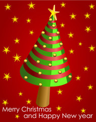 Vector format of wish card with conical Christmas tree and balls