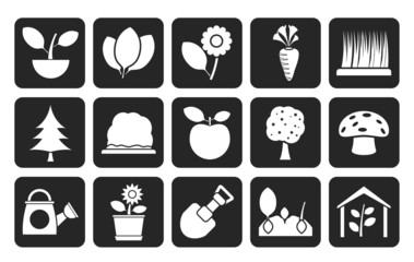 Silhouette Different Plants and gardening Icons