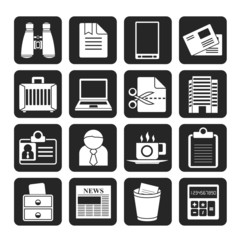 Silhouette Business and office elements icons