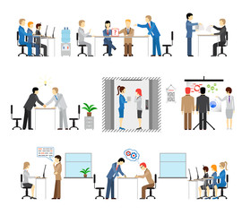 Illustrations of people working in an office