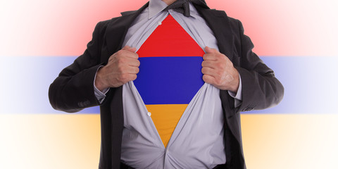 Business man with Armenia flag t-shirt