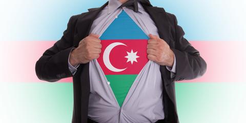 Business man with Azerbaijan flag t-shirt