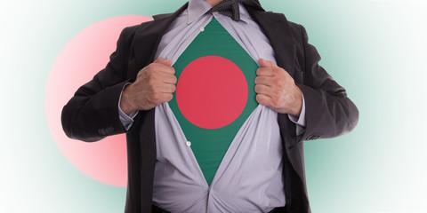 Business man with Bangladesh flag t-shirt