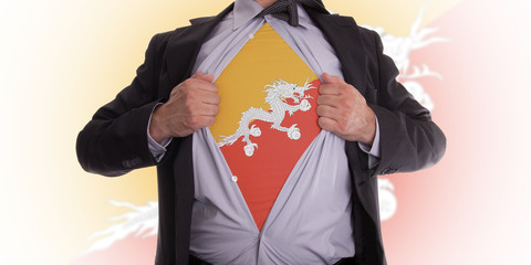 Business man with Bhutan flag t-shirt
