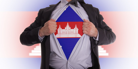 Business man with Cambodia flag t-shirt