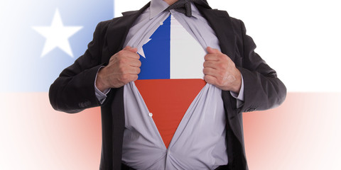 Business man with Chile flag t-shirt
