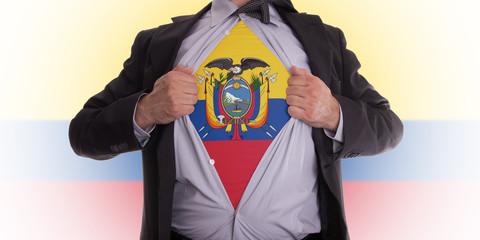 Business man with Ecuador flag t-shirt