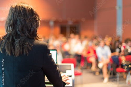 Business woman lecturing at Conference. - 67233272