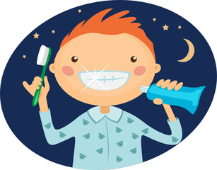 Illustration boy brushing his teeth