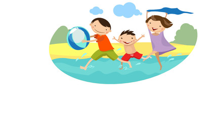 Family running on the beach. Vector illustration