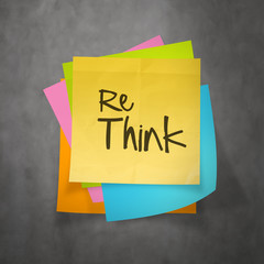 Hand drawn  RETHINK word paper sticky note on texture background