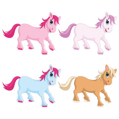 Vector Illustration of Colorful Ponies