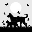Pets on nature background