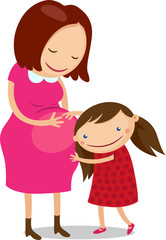 Illustration of girl hugging pregnant mother's belly