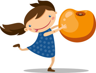 Illustration of a girl holding a large peach