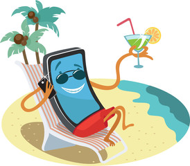 illustration of a cell phone on a summer holiday