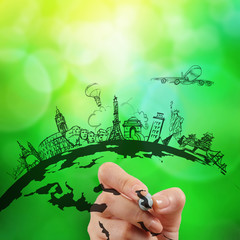 hand drawn traveling around the world on green nature background