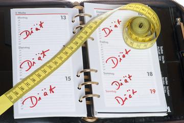 Diät im Kalender vermerkt