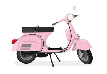 Pink Scooter Vector Illustration