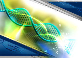 Digital illustration of Dna in abstract background