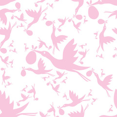 stork seamless pattern
