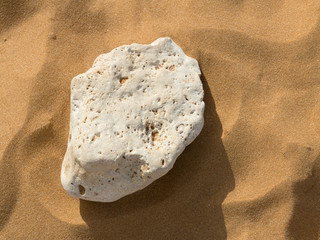 Single stone on a sandy beach
