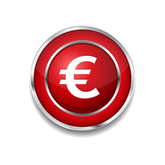 Euro Currency Sign Circular Vector Red Web Icon Button