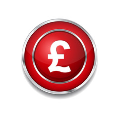 Pound Currency Sign Circular Vector Red Web Icon Button