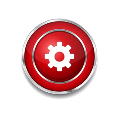 Settings Circular Vector Red Web Icon Button