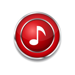 Music Note Circular Vector Red Web Icon Button