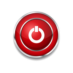 Power Circular Vector Red Web Icon Button