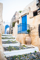 Old street in Pyrgos village on the island Santorini, Greece