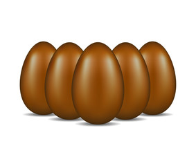 Chocolate eggs standing in formation