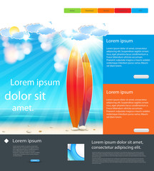 Website Holidays Template background with surfboard, easy all ed