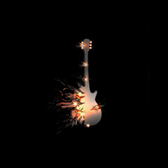 Abstract explode illustration of guitar, easy all editable