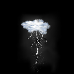 Lightning flash strike on sky background, easy all editable