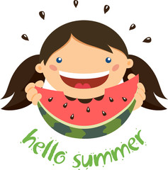 Girl eating watermelon. Hello summer!