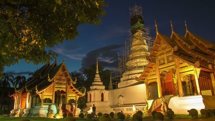 Time lapse twilight  Pra Singha Temple tilt down