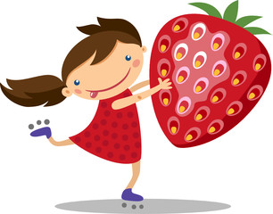 illustration of a cute girl with strawberry